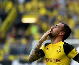 Alcacer was Dortmund's hero. AFP
