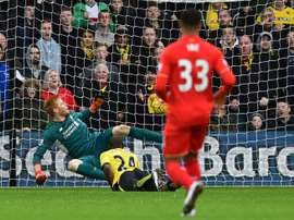 Watfords Odion Ighalo heads his second goal past Adam Bogdan at Vicarage Road on December 20, 2015
