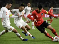 Son Heung-min put in an top performance to help South Korea overcome China. AFP