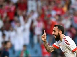 Benficas forward Kostas Mitroglou celebrates a goal during the Portuguese League Cup final against Maritimo in Coimbra on May 20, 2016