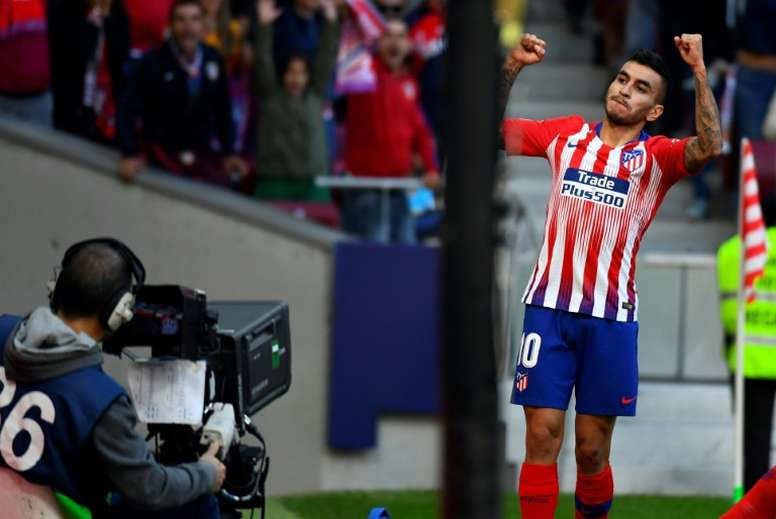 Atletico Madrid's Angel Correa celebrates scoring the only goal of the game. AFP