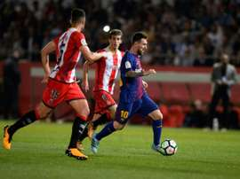 Barca eased to victory over Girona in the Catalan derby. AFP