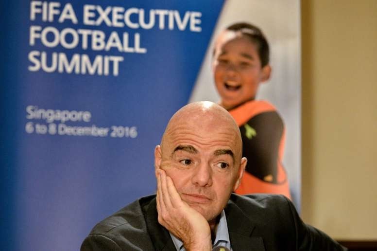 FIFA President Gianni Infantino attends a media briefing after the FIFA Executive Football Summit in Singapore, on December 8, 2016
