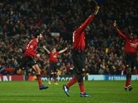 Fellaini celebrates scoring his 91st minute winner at Old Trafford. AFP