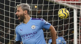 Aguero was the hero for Man C at Sheff Utd. AFP