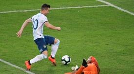 Giovani Lo Celso scoring for Argentina against Venezuela in the Copa America in June