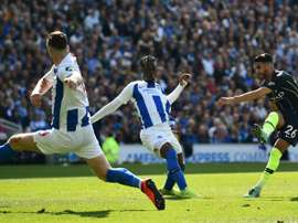 Mahrez scored a crucial goal as City won the league on Sunday. AFP