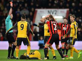 Francis was sent off for a challenge on Aaron Ramsey on Tuesday night. AFP
