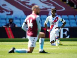 Wilfried Zaha was racially abused at Aston Villa on Sunday. AFP