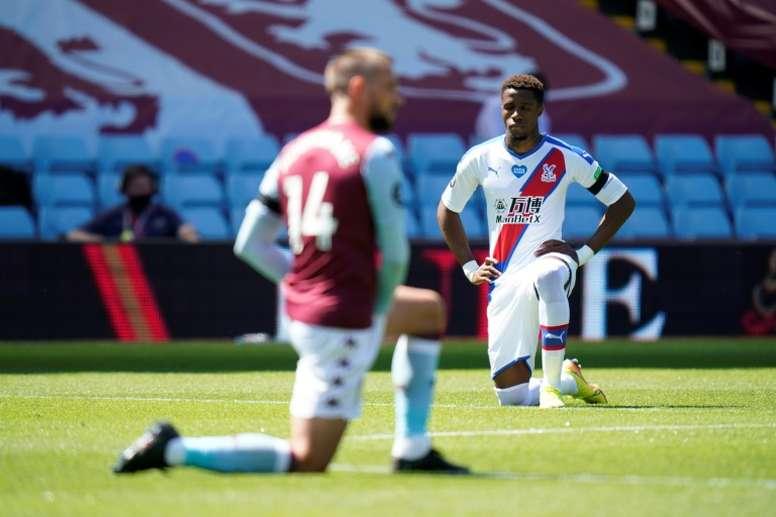 Wilfried Zaha was racially abused at Aston Villa on Sunday. AFP