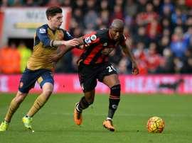 El congoleño marcó seis goles el año pasado con el Bournemouth. AFP