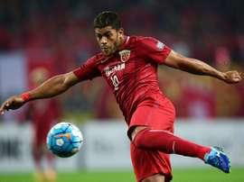 Hulk, striker of Shanghai SIPG shot one goal against Jiangsu Suning. AFP