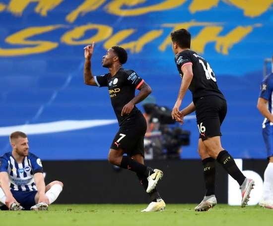 Raheem Sterling (2L) got a hat-trick in Man City's 0-5 win at Brighton. AFP