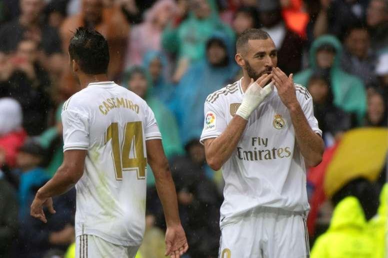 Benzema, con un doblete, fue el gran protagonista. AFP