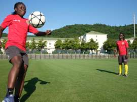 African 'twin sisters' tackle Chinese football together. AFP