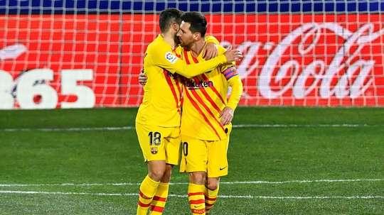 Jordi Alba raconte sa connexion avec Messi sur le terrain. AFP