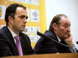 Spanish council member of Atletico Madrids board Ignacio Aguillo (L) and President of French football team RC Lens Gervais Martel (R) hold a press conference on May 23, 2016 in Lens, France