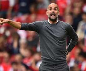 Guardiola, contento con Muric. AFP