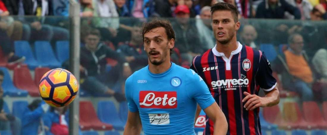 Napoli forward Manolo Gabbiadini eyes the ball against Crotone. AFP