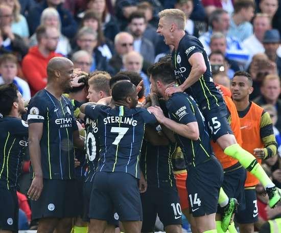 O Manchester City venceu o Brighton e sagrou-se campeão inglês. AFP