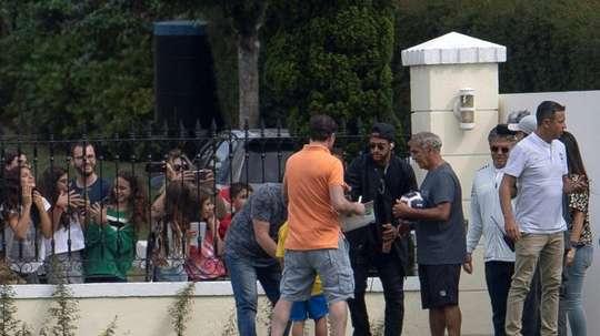 Neymar arrives at Brazil camp. AFP