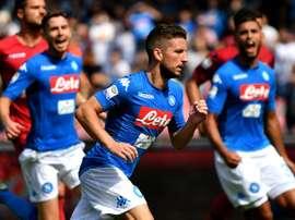 O Napoli foi derrotado pela Atalanta na Copa de Itália. AFP