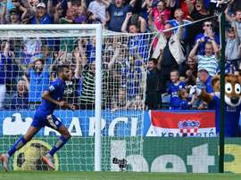 Leicester Citys Algerian midfielder Riyad Mahrez celebrates after scoring at King Power Stadium in Leicester, central England on August 8, 2015