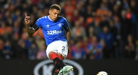 Tavernier scored twice from the spot in Rangers' 5-0 win. AFP