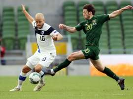 Fredrik Jensen scored the only goal as Finland beat Ireland. AFP