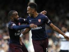 Aubameyang scored twice against Fulham on Sunday