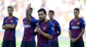 Messi addressed the Camp Nou crowd before a pre-season friendly match against Boca Juniors. AFP