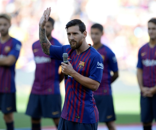 Messi spoke about his 'pride' of becoming Barcelona captain. AFP