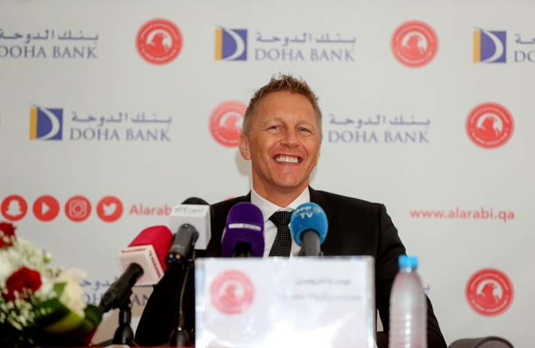 Heimir Hallgrimsson held his first press conference for new club Al-Arabi this week. AFP
