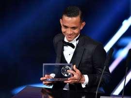 El ganador del Premio Puskas estuvo a punto de no dar su discurso. AFP