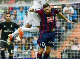 Striker Borja Baston, then on loan at Eibar from Atletico Madrid, pictured during the Spanish league match against Real Madrid at the Santiago Bernabeu stadium in Madrid on April 9, 2016