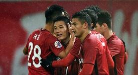 Wu smashed four goals past Guangzhou. AFP
