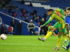 West Broms Karlan Grant scores the equaliser in a 1-1 draw with Brighton. AFP