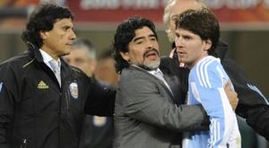 Maradona fala sobre Messi. AFP