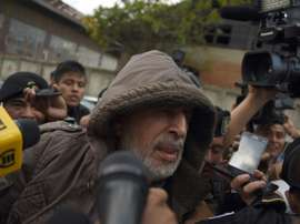 Guatemalan Football Federation former president Brayan Jimenez speaks to the press after being arrested in Guatemala City on January 12, 2016