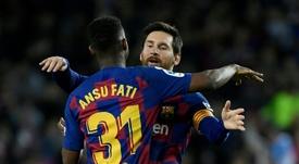 Conexão Messi-Fati garante vitória do Barça. EFE/Alejandro García