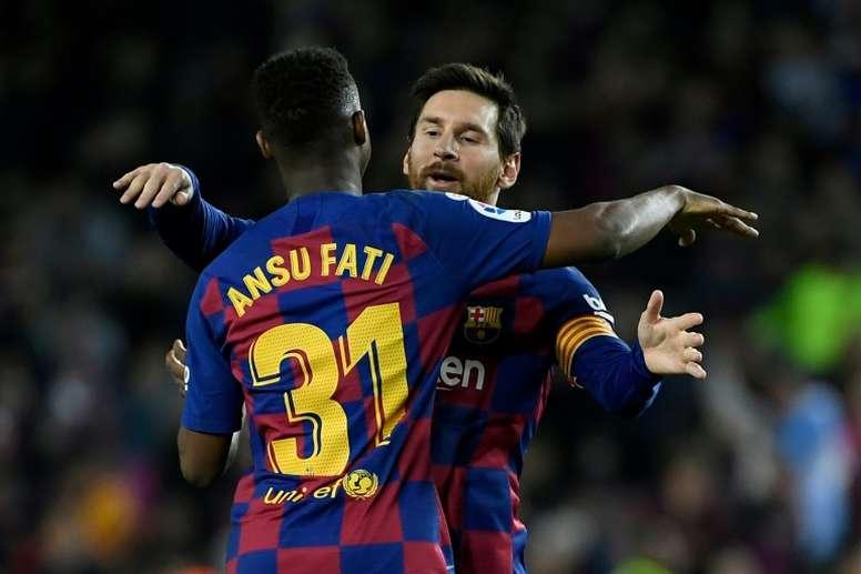 Ansu Fati e Lionel Messi são dois dos quatro inegociáveis no Barcelona. AFP