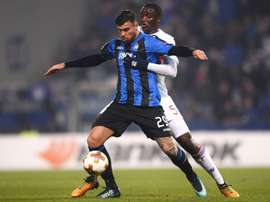 Petagna scored the winner against Lyon as Atalanta topped their group. AFP