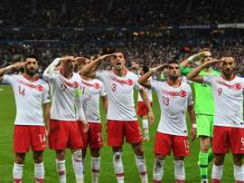 Footballers in Germany have been warned not to make Turkey military salute. AFP