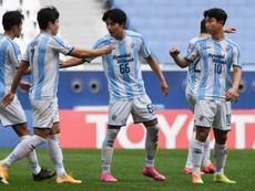 Yoon Bit-garam (R) scored twice as Ulsan qualified for the AFC CL last 16. AFP