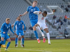 Air force: Englands Mason Greenwood and Icelands Jon Bodvarsson challenge for the ball. AFP