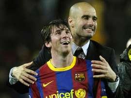 Guardiola disse que não pensa em tirar Messi do Camp Nou. AFP