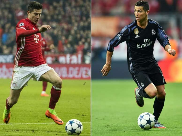 Lewandowksi and Ronaldo are two of football's greatest marksmen. AFP
