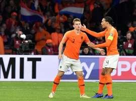 Matthijs de Ligt and Virgil Van Dijk together for the Netherlands. AFP