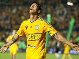 Tigres Alan Pulido celebrates after scoring against Atlas during their 2014 Mexican Clausura tournament football match in Monterrey, Mexico, on April 26,2014