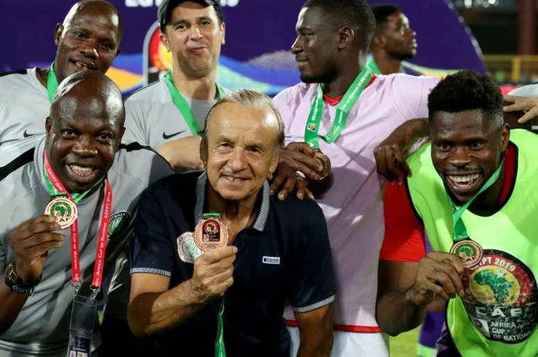 Nigeria coach Gernot Rohr in July 2019 after claiming the AFCON 3rd place. AFP